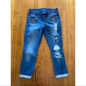 Rare Bebe Sample Distressed Butterfly Themed Jeans